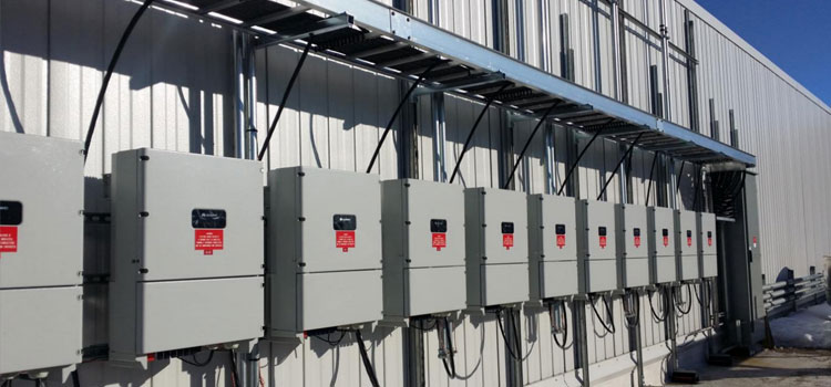 string inverters on a commercial solar installation